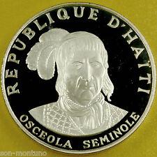 OSCEOLA SEMINOLE - American Indian Chief 1.5 Ounce Silver Proof Coin Haiti 1971