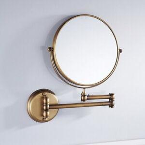 Antique Brass Makeup Mirror Folding Wall Mount Vanity Mirror 3x Magnifying