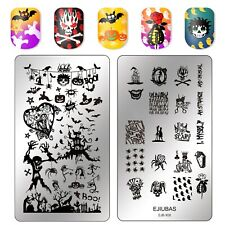 Ejiubas Halloween Theme Designs Double Sided Nail Art Stamping Plate EJB-X08