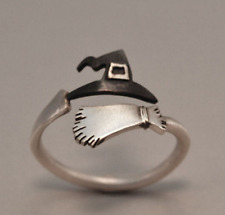 Cute Halloween Ghost Witch Broom Finger Ring Open Rings Party Cosplay Jewelry