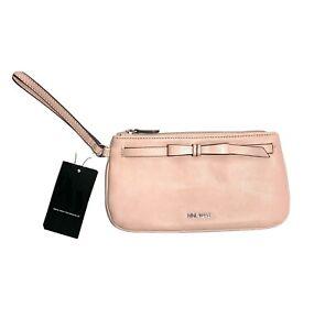 Nine West Caitlyn Slg Leather Wristlet Wallet Clutch Modern Pink Zip Top Fx NEW