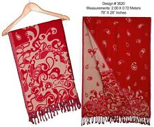 "Village Crafted Pashmina Shawl Stole Wrap Scarf Hand Woven 78""X28"" Red-3620"
