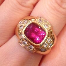 Estate 3 ct Pink Tourmaline and Diamond Cocktail Ring 18K Yellow Gold - HM915