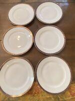 Epiag Czechoslovakia Cobalt Rim Gold Bread/Salad 6 Plates