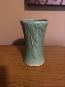 """Brush Nelson McCoy Green flower Leaves vase 6"""" antique retro"""