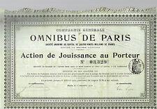 STOCK CERTIFICATE  OMNIBUS DE PARIS 1910  coupons attached