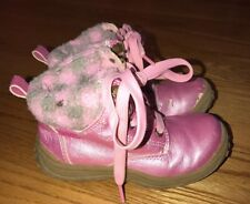 CARTER'S Shimmer Pink Faux Fur Plaid ALASKA Boots Toddler Girls Shoes Sz 9 #