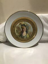 JKW Bavaria Western Germany Plate Royal Vienna Beehive Mark Gilt Gold Portrait
