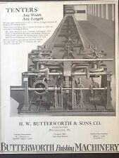VINTAGE 1922 AD {E22}~BUTTERWORTH FINISHING MACHINERY. PHIL. PA. TEXTILE IND.