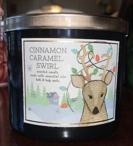 Cinnamon Caramel Swirl Candle Bath & Body Works 3 Wick Essential Oils 14.5oz Jar