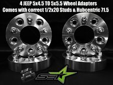 5x4.5 To 5x5.5 Wheel Adapters 2 Inch Thick 1/2 Studs 71.5 Hubcentric Jeep Bore