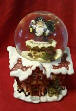 Snow Globe Rotating Santa Going down Chimney Musical