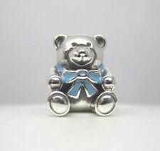 Genuine Pandora 925 Sterling Silver Charm Son Blue Teddy Bear 791124EN41