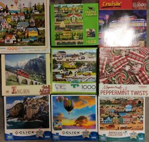 Lot 9 most 1000 pcs Jigsaw Puzzles Mega Big Ben Buffalo Ceaco Majestic Cruisin