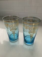 Anthropologie Juice Glass Cup Tumbler - Set Of 2 - Teal and Gold