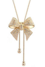 Crystal Rhinestone Bow Bowtie Pendant Necklace Sweater Chain (Golden) LW