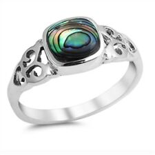 Women's Unique Abalone Fashion Ring .925 Sterling Silver Band Sizes 4-10 NEW