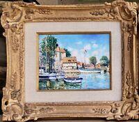 "French ""Honfleur Harbour Scene"" by Yetuart Kaprielian Listed artist Nice frame"