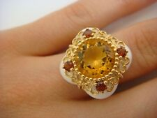 CITRINE, GARNETS & PORCELAIN SET IN 14K YELLOW GOLD FILIGREE LADIES RING SIZE  6
