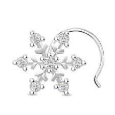 Sterling Silver Clear CZ Snowflake L Shape Post Pin Stud Nose Ring 20 gauge #WW
