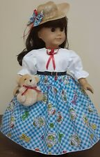 DOLL CLOTHES AND ACCESSORIES FITS AMERICAN GIRLWITH HER TEDDY.