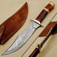 Custom Handmade Damascus Steel Hunting/Bowie Knife Handle Rose Wood Bone Brass