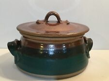 Hand thrown Stoneware Pottery Lidded Casserole/Serving Bowl signed copper/green
