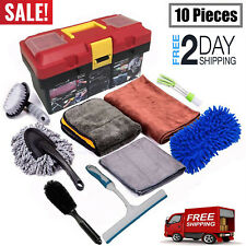 Car Cleaning Tools Kit with Blow Box Car Tire Brush Wash Mitt Sponge Wax Applica