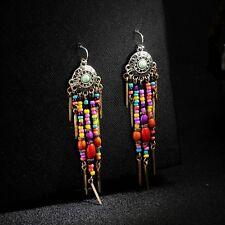 Boucles d`Oreilles Argenté Mini Perle Multicolore Rouge Jaune Bohême Ethnique C1