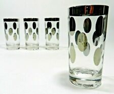 Dorothy Thorpe Silver Polka Dot Highball Glasses Mid Century Modern