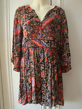 ZARA ETHNIC PRINT MINI DRESS/LONG TUNIC TOP, XS, RED/MULTI