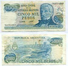 ARGENTINA NOTE 5000 PESOS (1978) LOPEZ-DIZ B# 2467 SERIAL A P 305a VF