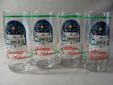 4 Clear Glass 16 Oz. Tumblers, Christmas In Alabama / Happy Holidays Design
