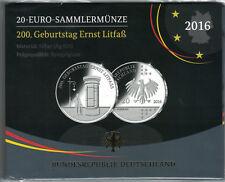 """20 € Gedenkmünze 2016 D """"200. Geburtstag E. Litfaß"""" 925er Silber PP/Spiegelglanz"""