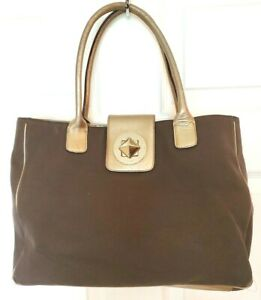Kate Spade Womens Large Brown Canvas Gold Leather Trim Shoulder Bag Satchel Tote