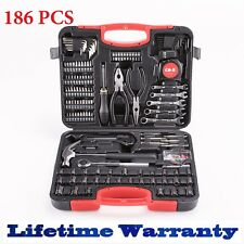 186 pc Tool Set & Case Auto Home Repair Kit SAE Metric Mixed Hand Tool Set
