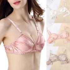 Womens Sexy Mulberry Silk Bra Thin Wireless Soft Comfortable Bralette Underwear