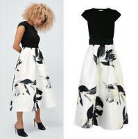 COAST NEW Ivory & Black Floral Print Twill Skirt Midi Dress with Belt 6 to 18
