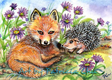 """ACEO LE Art Card Print 2.5x3.5"""" """" Little Fox And Hedgehog """" Art by Patricia"""