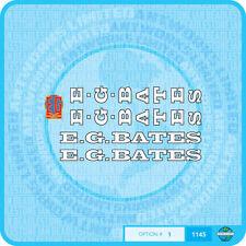 E G Bates Bicycle - Transfers - Stickers - Set 1