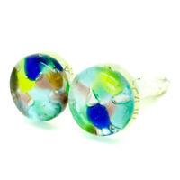 Murano Glass Cufflinks Multi Coloured Blue Green  Circular Handmade from Venice