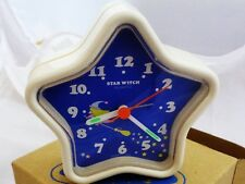 Vintage New Old Stock Orient Japan Kids/Teen White/Blue Alarm Clock (Star Witch)