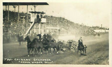 RODEO CANADA CALGARY STAMPEDE CHUCK WAGON SPILL OLD REAL PHOTO POSTCARD