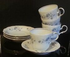 John Haviland Cup with Saucer, Set of 4 Made in Bavaria Germany White Porcelain
