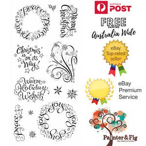 Christmas Stamps - Warm Holiday Wishes, Joy Wreath, Peace Wreath - Inkadinkado