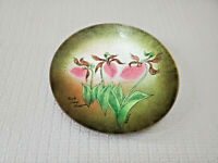 Margaret Ratcliff Enamel on Copper Plate Pink Lady's Slippers Orchids 7'' W