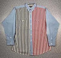 90s Vintage PANHANDLE SLIM Mens Large Long Sleeve Shirt | USA Striped