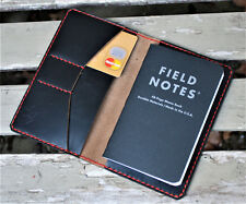 Handmade Leather Cover Field Notes Card Holder  Horween Chromexcel black red