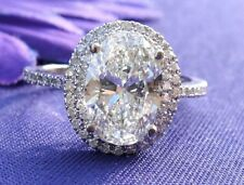 Awesome Double Halo 2.14 Ct Oval Cut Diamond Sterling Silver Engagement Ring