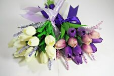 Real Touch White Tulip Wedding Bouquet – Lavender/White - Purple/Lavender